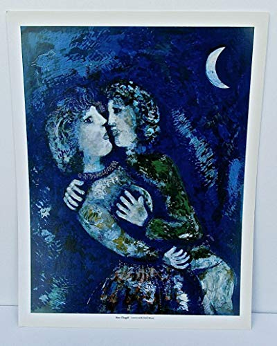 Marc Chagall Poster Lovers with a Half Moon 14x11 Offset Lithograph