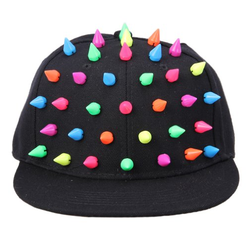 Bigood Hedgehog Colorful Spiked Punk Hip Hop Baseball Canvas Cap Hat Black