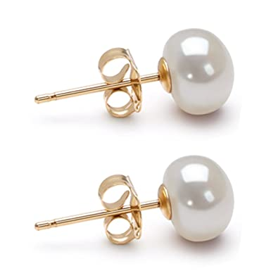 17373a2bf65 Amazon.com: White AA 6mm Freshwater Cultured Pearl Earrings Stud ...