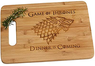 Game of Thrones Dinner is Coming Bamboo Wood Cutting Board with Handle Funny Gift House Stark
