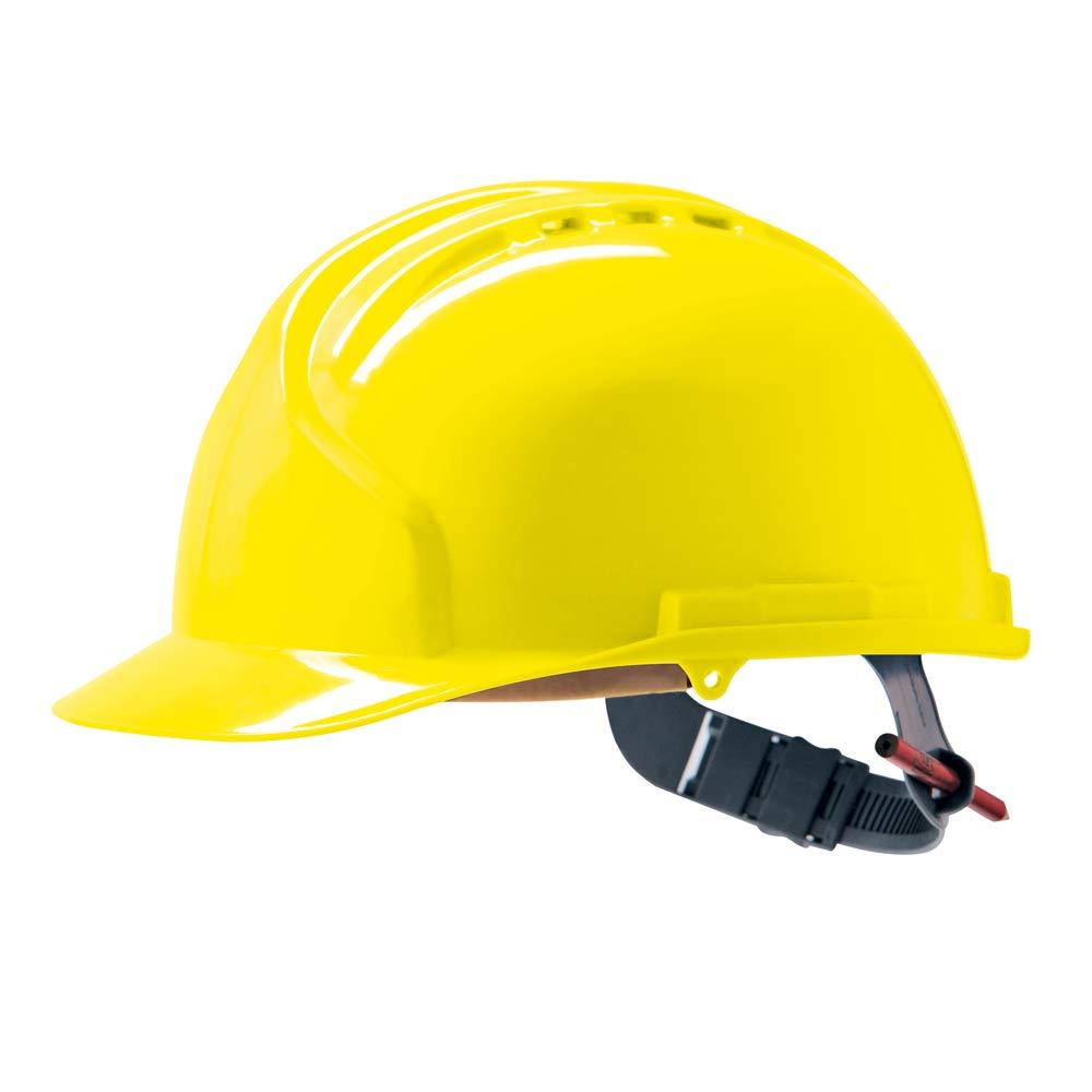 JSP – AHN120 – 000 – 200 MK7 antideslizante de carraca casco de seguridad, con ventilación, color amarillo: Amazon.es: Industria, empresas y ciencia