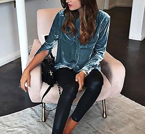 Blu Larghi Manica Tops Donne Moda Autunno Abbigliamento Elegante Bluse Scamosciato Lunga Bavero Donna Camicie Primavera Shirt Ragazza Solido Camicia Casual wCqIHvn
