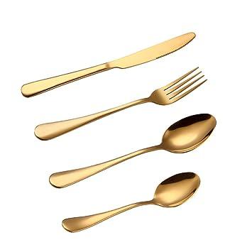 BESTONZON Set de Cubiertos de Acero Inoxidable Incluyen Cuchillo Tenedor Cuchara Cucharilla 4 Piezas (dorado): Amazon.es: Hogar