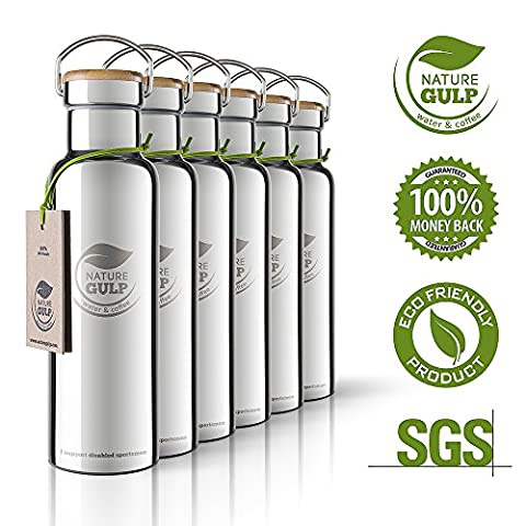Nature Gulp 24-36 Hours Cold & 12 Hot 20 oz Ultimate Vacuum Insulated Double Walled Stainless Steel Water Bottle and BPA free Drinks Bottle Perfect Sports Travel Camping Water Flask