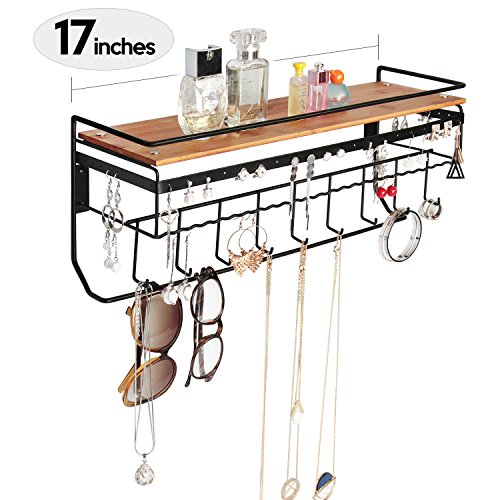 Price comparison product image JackCubeDesign Hanging Jewelry Organizer Necklace Hanger Bracelet Holder Wall Mount Necklace Organizer with 9 Hooks and Bamboo Support(Black, 16.9 x 5.9 x 7.1 inches) - MK237A