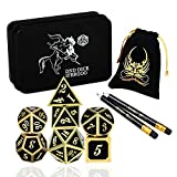 ifergoo DND Metal Dice, 7 Die Polyhedral Game Dice with Metal Storage Box, Punches and 2 Pencils for Role Playing Game Dungeons and Dragons D&D Pathfinder Shadowrun and Math Teaching (Black Gold)