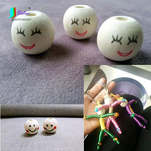 (Dalab DIY Handmade Knitted Doll Material Natural Wood Color Round Smile Wooden Bead,18MM Smiling Face Wooden Bead S0659L - (Color: Mixed 2 StyleX30PCS))