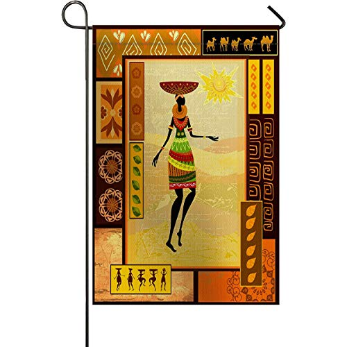 (zhurunshangmaoGYS African Garden Flag House Banner Decorative Flag Home Outdoor, African Girl Dressed in Ethnic Under Sun Figure Folk Culture Tribal Elegance Yard Flag,Double Sides 12 x 18inch)