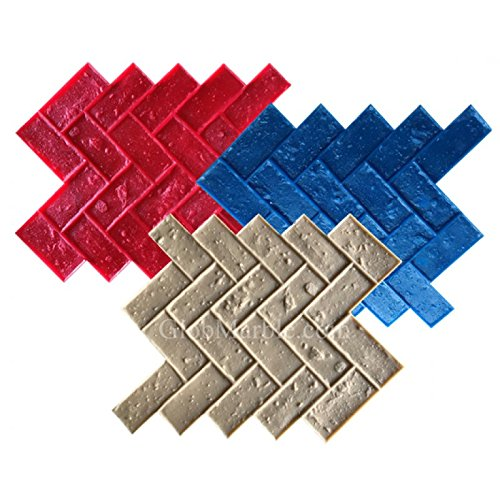 Herringbone Brick Stamped Concrete. Stamp Mat Set SM 4100