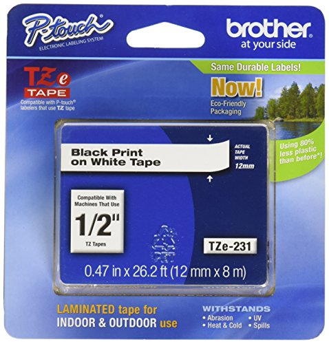 UPC 012502052166, Brother 26.2-Foot Black on White 1/2-Inch Labeling Tape (TZ231)