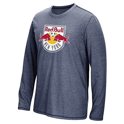 MLS New York Red Bulls Men's Climacool Aeroknit Long Sleeve Tee, Heathered Navy, Medium