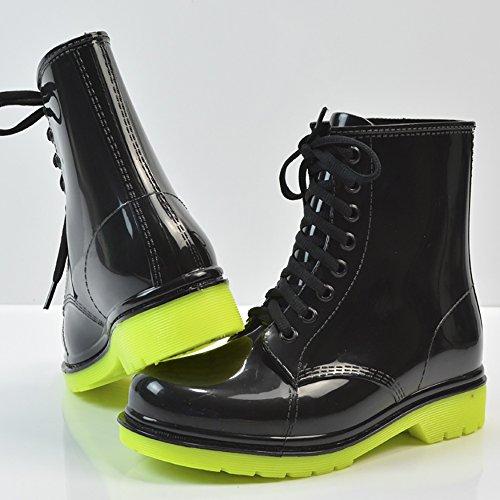 Martin Transparent Rain Women's Round Waterproof QZUnique Lace Black Boots Rain Shoes up Green Toe 5zvdwq