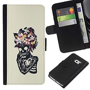A-type (Floral corazón cráneo esqueleto Primavera) Colorida Impresión Funda Cuero Monedero Caja Bolsa Cubierta Caja Piel Card Slots Para Samsung Galaxy S6 EDGE (NOT S6)