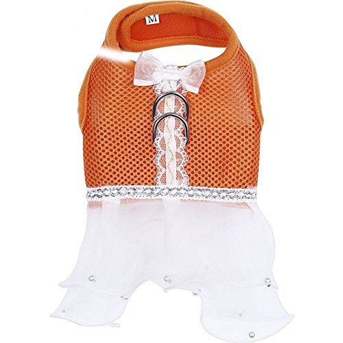 Harness Dog Dress Pet Striped Multiple Layers Yarn Skirt Puppy Apparel Cothes, Orange,Small