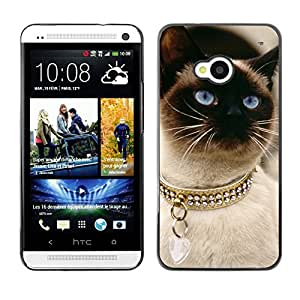 VORTEX ACCESSORY Hard Protective Case Skin Cover - siamese thai cat balinese gold collar - HTC One M7