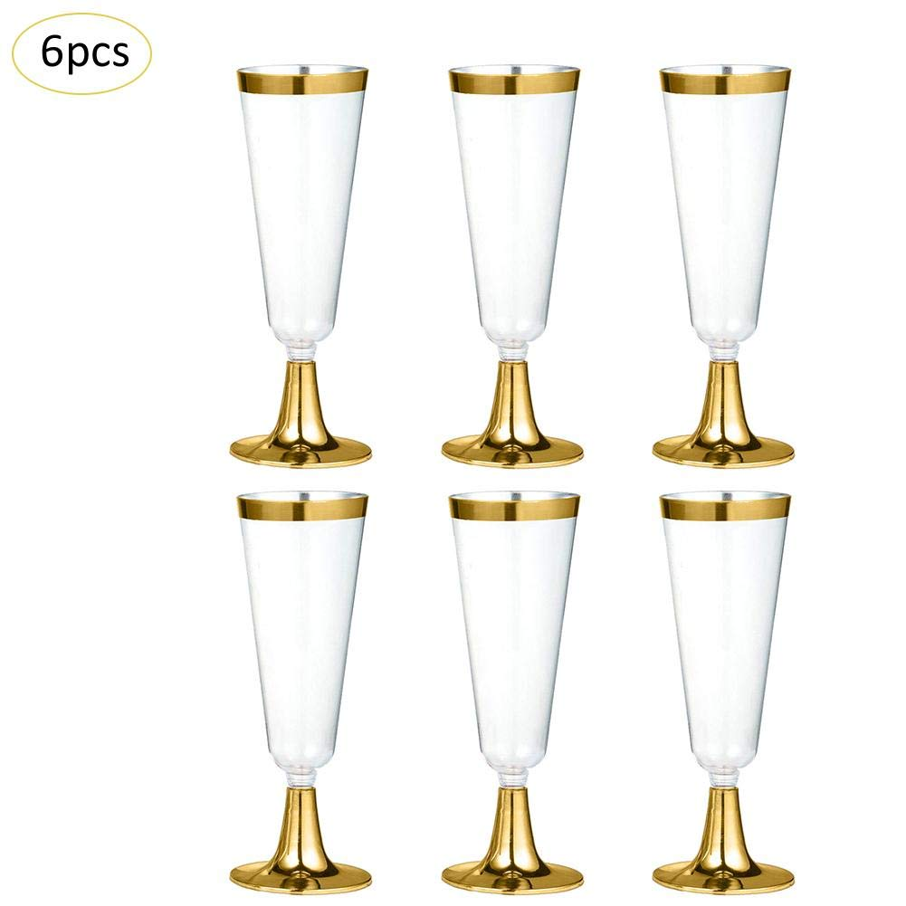 wine glass champagne flute cocktail party drink cup western cuisine 5oz cups clear elegant with rim durable wedding glasses recyclable 6pcs disposable plastic hot stamping plated red ice cream test Comaie®