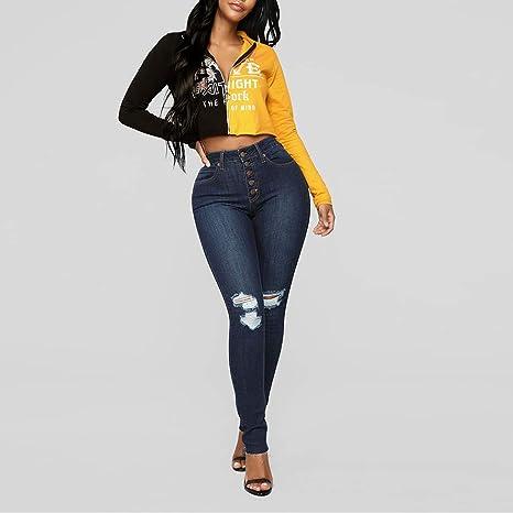 FONMA Women Casual Jeans Denim Single-Breasted Zipper Fly ...