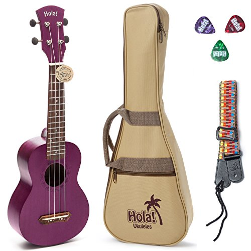 Hola! Music HM-121PP+ Deluxe Mahogany Soprano Ukulele Bundle with Aquila Strings, Padded Gig Bag, Strap and Picks - Purple