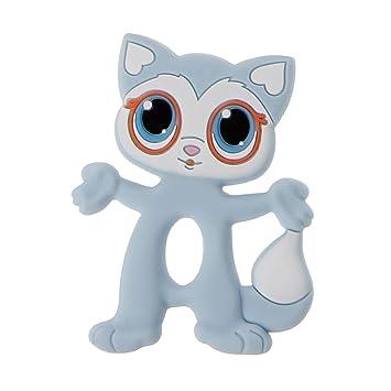 Anillos de mordedor para bebés, ojos grandes, gato, sin BPA, para niños y enfermedades, accesorio de calidad alimentaria, de silicona azul: Amazon.es: Hogar