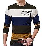 CELINO Men's Block Stripe Ribbed Edges Long Sleeve Lettered Classic Pullover