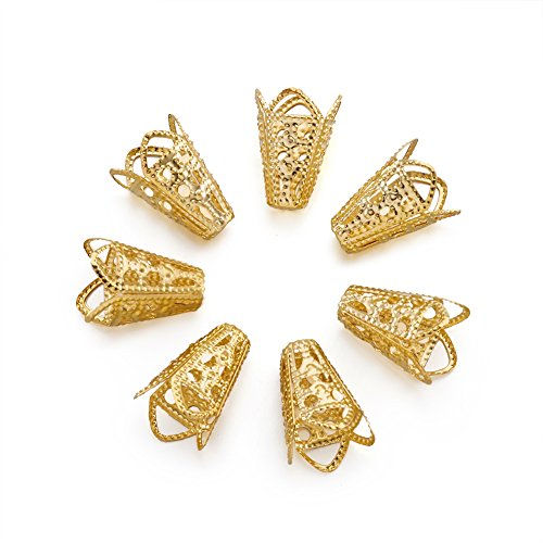 Craftdady 500Pcs Golden Plated Iron Filigree Flower Bead Caps 16x10mm DIY Jewelry Making End Caps Metal Spacers Findings