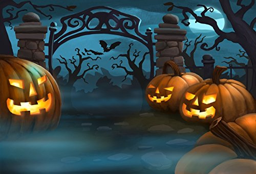 Yeele 6x4ft Halloween Backdrop Scary Horror Forest Night Grimace Pumpkins Lantern Party Banner Photography Background For Picture Kids Children Baby Portrait Photo Booth Shooting Studio (Mr. Halloween Party Fabric)