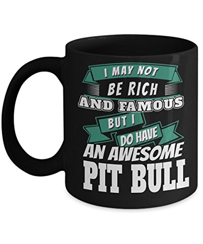 PIT BULL COFFEE MUG ~ Pit bull owner gifts-Ideal dog lover gifts/Unique gift idea for some one who love/looking for English-terrier-boxer breed-dog-rescue-puppy-items-accessories, Black 11 Oz tea - The 2015 Best Sunglasses Who Makes Polarized