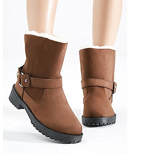 Women Short Boots Cotton Suede Flat Heel Thicker Plush Warm Casual Shoes BROWN-41 I6NkM