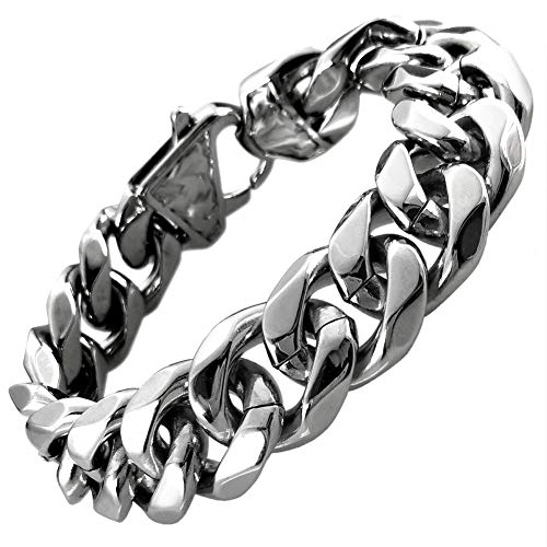Ahappy Cool Top Quality Silver tone Mens Stainless Steel Curb Bracelet Bangle B188 - Stainless Steel Bangle Mens