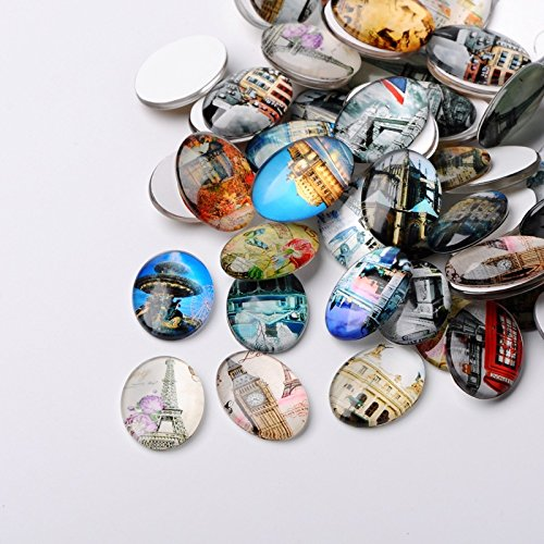 PEPPERLONELY 10PC European Cities Printed Dome Glass Cabochons Oval Flat Back For Cabochon Bezel Settings ()