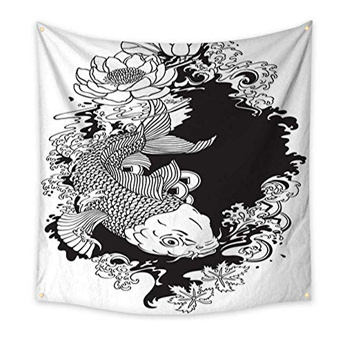 try koi Fish Black and White Illustration Living Room Bedroom Dorm Decor 70W x 70L Inch ()