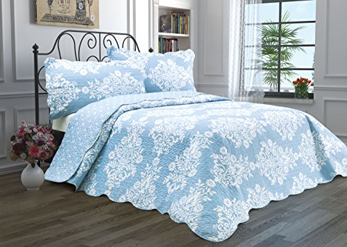 2 Piece Quilt Set with Sham Reversible Bedspread Matelasse Bedcover Double-Sided Bedding Coverlet Lightweight Comforter Linen Looking Luxurious Bed Cover (Floral-Twin)