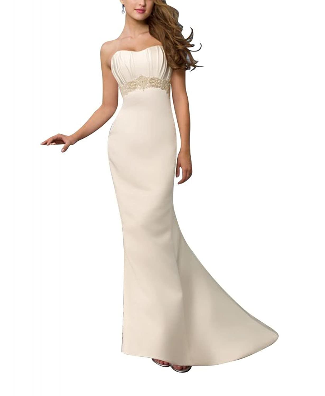 GEORGE BRIDE Simple Strapless Sheath Satin Court Train Wedding Dress