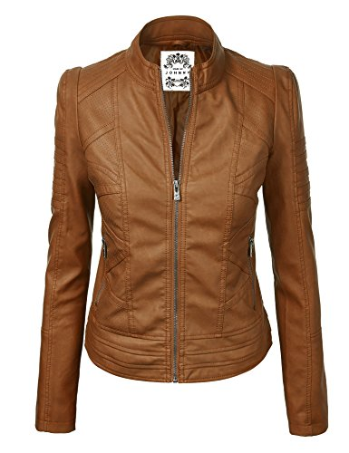 Made By Johnny WJC746 Womens Vegan Leather Motorcycle Jacket L Camel