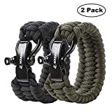 WEREACH Paracord Survival Bracelet with Adjustable Black Stainless Steel Buckle for Men/Women, 550LB Paracord Bracelet Survival Kit for Outdoor Camping Hiking(for Wrists 7-8 inch)