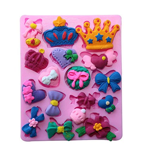 Bows Queen Crown Heart Candy Mold Silicone Chocolate Fondant Mold Cake Decoration for Sugarcraft, Fondant, Resin, Polymer Clay, Crafting (Diy Queen Of Hearts Crown)