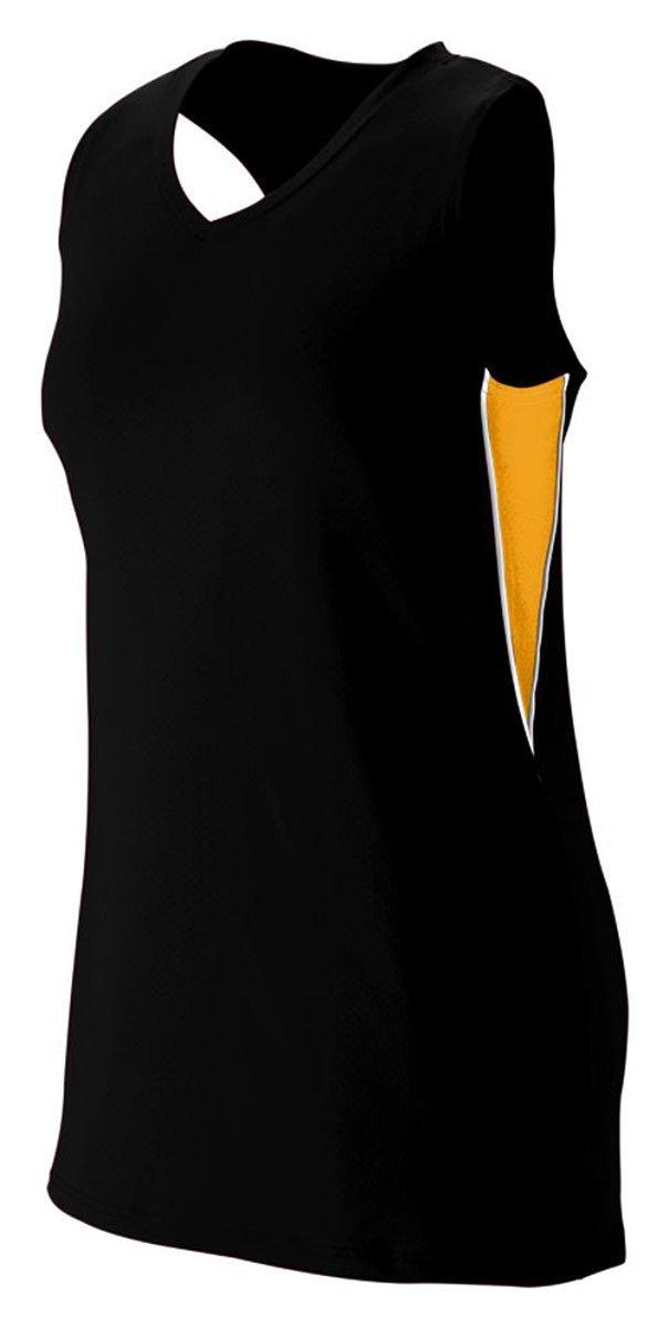 Augusta Sportswear Girls ' Inferno Jersey B00HJTK988 Large ブラック/ゴールド/ホワイト ブラック/ゴールド/ホワイト Large
