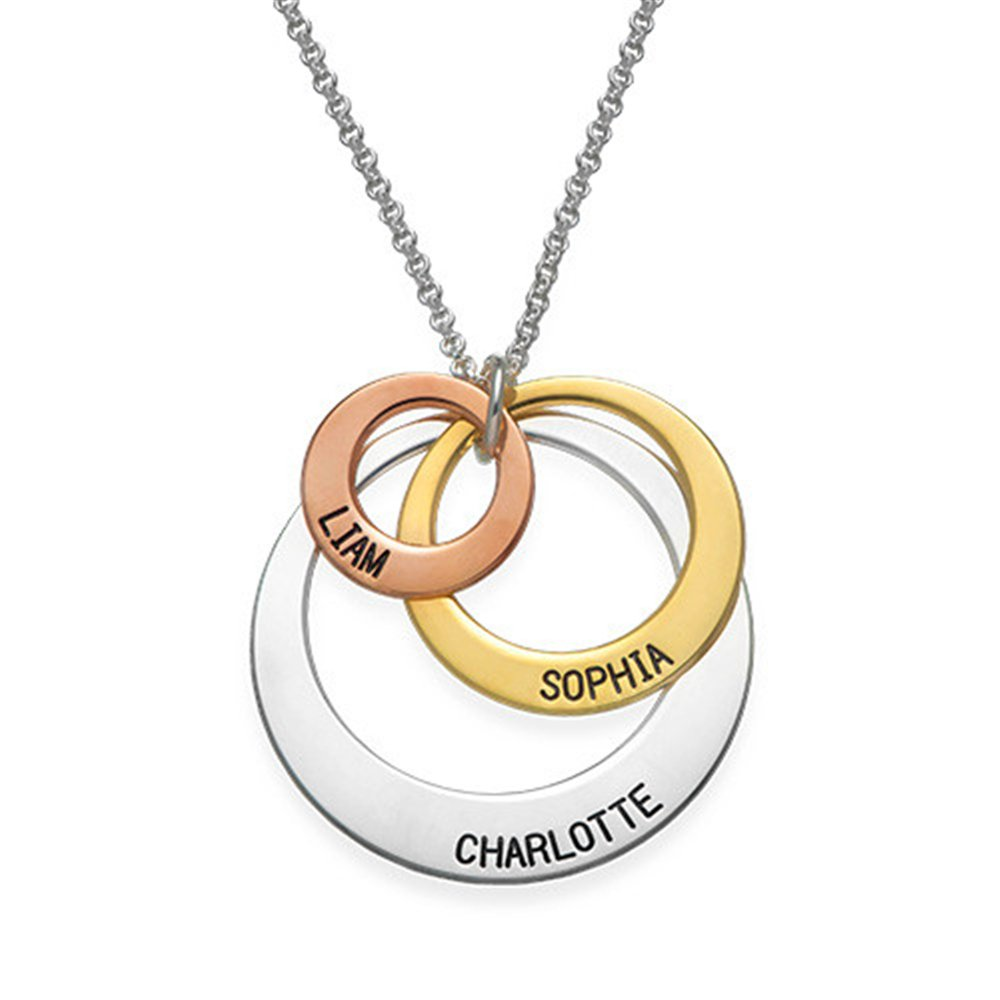 Three Circle Necklace Custom Made Pendant with Any Name Engraved Jewelry for Moms