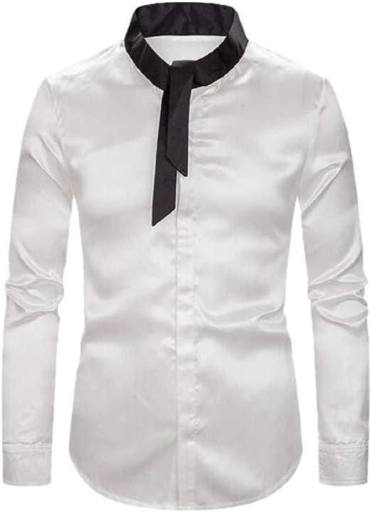 BingSai Camisa de Manga Larga con Botones y Cuello de Corbata para ...