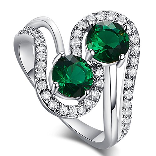 Veunora White Gold Plated Twisted Round Cut Emerald Quartz Ring Jewelry for Women