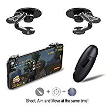 Fortnite PUBG Mobile Controller – LAWOHO Game Controller, Cellphone Game Trigger, Ergonomic Design Handle Holder Handgrip Stand for 4.5-6.5inch Android iOS Phones for Battle Royale/Fortnite/PUBG
