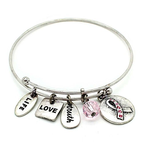 (KIS-Jewelry Symbology 'Ribbon with Pink Crystal' Bangle Bracelet, Silver Plated - Expandable Wire Charm Bracelet Accented with Crystal Stones and One Shiny Glass Bead - Perfect Jewelry for Fashion)