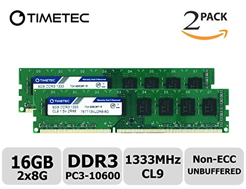 Timetec Hynix IC 16GB Kit (2x8GB) DDR3 1333MHz PC3-10600 Unbuffered Non-ECC 1.5V CL9 2Rx8 Dual Rank 240 Pin UDIMM Desktop Memory Ram Module Upgrade (16GB Kit - Server Motherboard Tyan