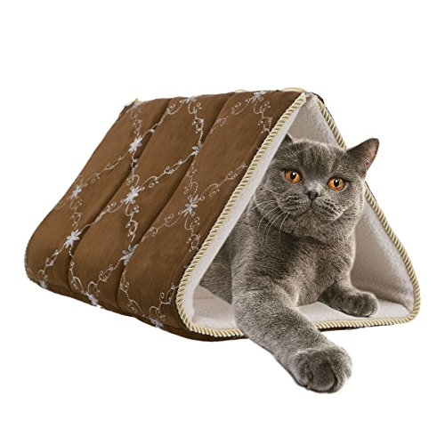 (Brinkmann 2-in-1 Cat Teepee Pet Mat Tunnel Bed Cave Pyramid Tent Covered Pad )