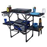 White Mac Camping Grill Table,BBQ Folding Outdoor Kitchen Station with 4 Fold-Out Side Tables,Large Camping Prep Station for Cooking Outside