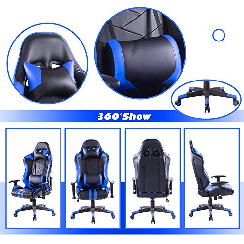Killbee Large Size PVC Ergonomic Reclining Racing Chair Executive Office Chair with Headrest and Lumbar Support (Blue) by Killbee (Image #1)
