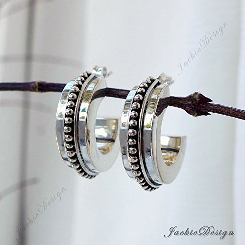 Row of Dots Round Bali Ornate Sterling Silver Post Earrings JD172