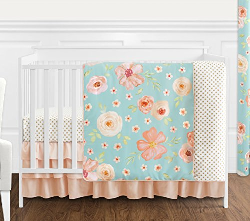 (Sweet Jojo Designs Turquoise and Peach Shabby Chic Watercolor Floral Baby Girl Crib Bedding Set Without Bumper - 4 Pieces - Pink Rose Flower Polka Dot)