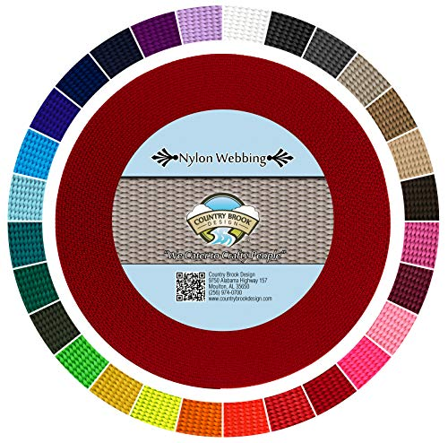 Heavy Durable - Country Brook Design - Red 5/8 Inch Heavy Nylon Webbing (10 Yards)