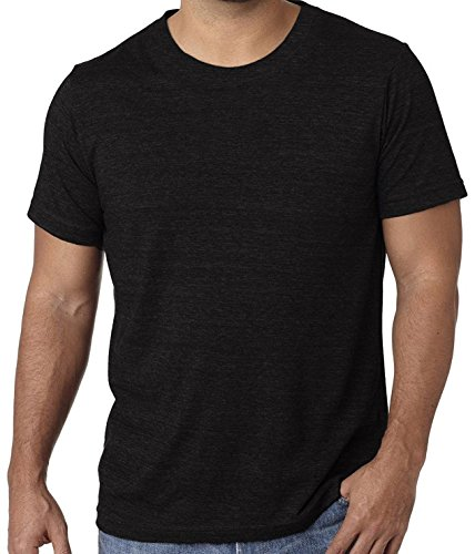 Mens Tri Blend Round-Neck T-shirts yoga dance every day wear (2XL, Black Triblend) - Will Blend T-shirt